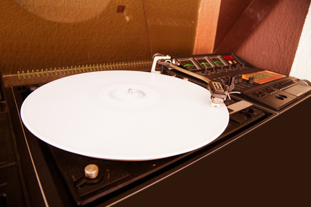 phono: a classic record player with vinyl current Stock Photo