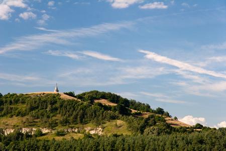 feld: Landscape near Seitenroda in Thuringia with caslte Leuchtenburg behind the mount Pfaffenberg