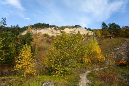 rockslide: mount Dohlenstein trail near Kahla on Saale in Thuringia