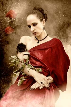 a rose queen - a woman grows a rose plant on the arm