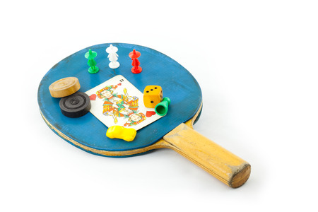 theatrics: game playing utensil in front of white Background Stock Photo