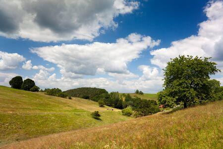 mountainous: mountainous landscape in summer Hummelshain Thuringia Germany