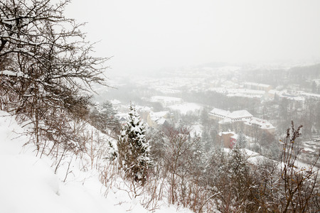 wintry weather: A view from the Saale horizontally over the city of Jena on a snowy winter day - Thuringia, Germany Stock Photo