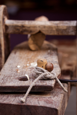 woodworking: Node on the workbench a woodworking workshop Stock Photo