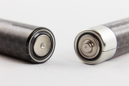 electrolyte: Positive and negative terminals of two batteries