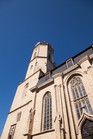 housetop: the city Church of Jena on a sunny day in March Stock Photo