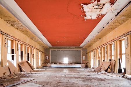 old leave deserted room, ancient building casern