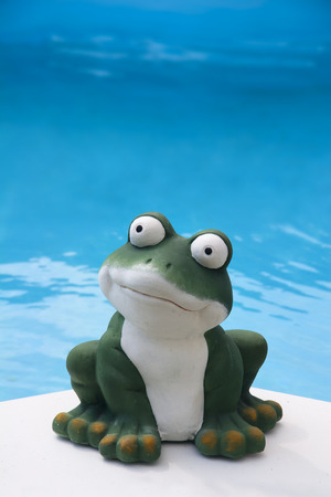 a ceramic frog in front of the the blue water of a swimming pool
