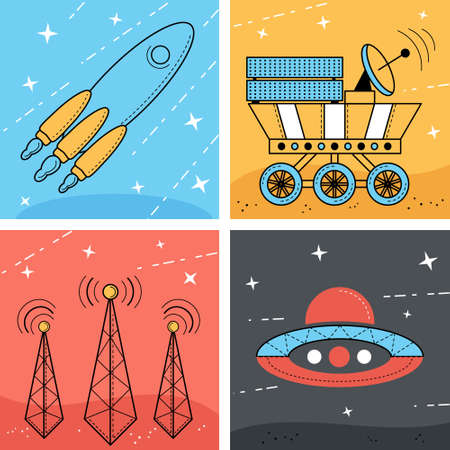 space antenna: Set of 4 space illustration. Rocket and ufo in the space. Moonwalker and Antenna on the planet Illustration