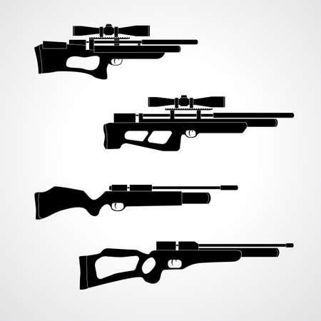 PCP 圧縮空気の狩猟用ライフル。エアガンのカービン銃。空気圧。白い背景に分離された光学視力を持つエアライフル。プリチャージ空気圧  イラスト・ベクター素材