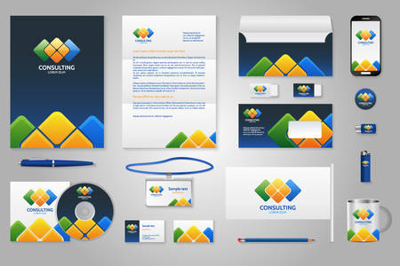 corporative: Corporate identity branding template. Business documentation. Business stationery mock-up with logo. Triangular colorful with blue background. Pen and pencil, phone, document, badge, letter, envelope