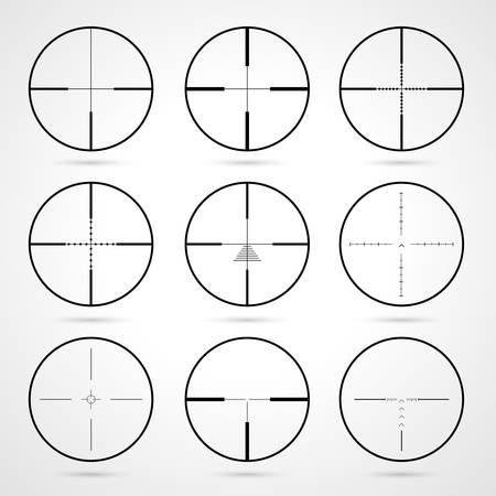 crosshairs set. Target icons set.  Weapon sights. Crosshairs icons isolated on white background. Aims symbol