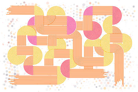 Abstract retro lines background. Colorful retro rounded. Illustration