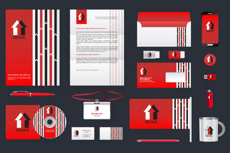 rubber sheet: Real estate corporate identity branding template. Business documentation. Business stationery mock-up with logo. Red background