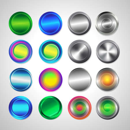 Realistic metal button with circular processing. Round buttons for website. Matted colored blank web buttons Illustration