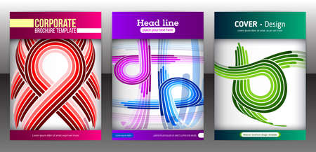 rounding: Set of backgrounds with flat dynamic pattern. Abstract geometric shapes for presentation, flyer, brochure and annual report. Line concept for business cover decoration. Vector illustration eps 10.