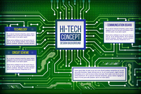 electronic circuit: Abstract computing circuit background. Digital technology data concept. Futuristic motherboard system. Hardware communication between chip and cpu. Illustration of hi-tech computer technology.