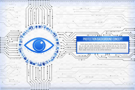 Digital technology concept of background with an eye. Circuit board background. Hi-tech electronic wires. Abstract information security. Modern safety digital background.