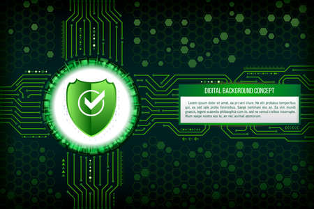 electronic circuit: Digital technology concept of background with a shield. Circuit board background. Hi-tech electronic wires. Abstract information security. Modern safety digital background. Illustration