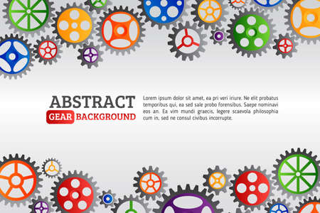 Abstract colorful gears background. Mechanism with integrated gears for business presentations or information banner. Modern design of background esp 10 Vector Illustration