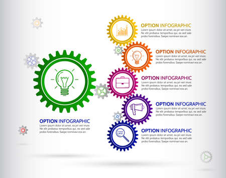 Infographic design template with gear chain. Colorful gear symbol with number, icons and Information text.