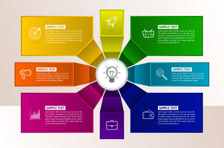 Infographics eight options with number, icons and Information text. Abstract business concept with 8 options or steps. Illustration