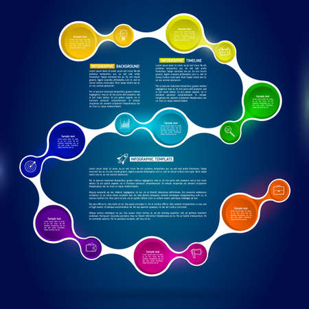 Background with connected metaball with integrated icons and text. Infographics eight options with icons and Information text. Abstract business concept with 8 options or steps. Illustration