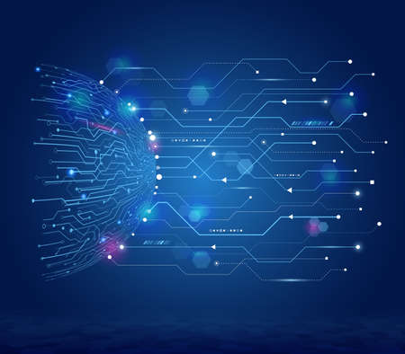 Hemisphere futuristic elements background. Hi-tech computer technology on the blue background. Abstract circuit technology concept. Vector illustration eps 10