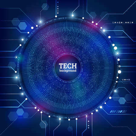 Hi-tech computer technology on the blue background. Abstract radial circuit texture. Futuristic technology structure elements. Vector illustration esp 10. Zdjęcie Seryjne - 80642717