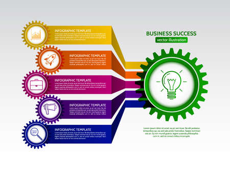 Abstract connected gears style business infographics. Communication concept with icons and text boxes. Vector illustration eps 10 Illustration