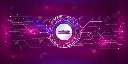 Abstract circular technology concept. Hi-tech communication on the purple background. Futuristic radial elements style. Vector illustration eps10