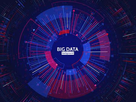 Structure de connexion Big Data. Élément abstrait avec des lignes, des points et un code binaire. Visualisation de Big Data. Illustration vectorielle futuriste infographique. Vecteurs