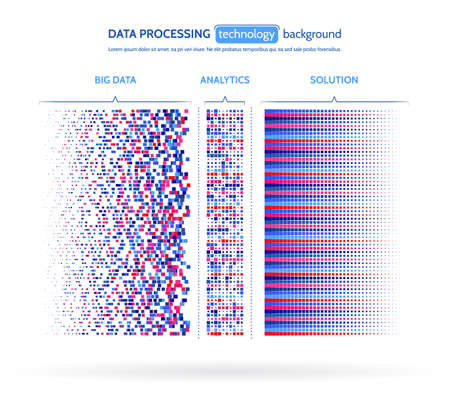 빅 데이터 시각화. 정보 분석 개념입니다. 추상 스트림 정보. 기계 알고리즘 필터링. 바이너리 코드 정렬. 벡터 기술 배경입니다. 일러스트