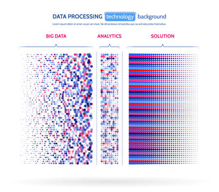 Big data visualization. Information analytics concept. Abstract stream information. Filtering machine algorithms. Sorting binary code. Vector technology background. Vectores