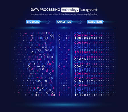 Big data visualization. Information analytics concept. Abstract stream information. Filtering machine algorithms. Sorting binary code. Vector technology background. Ilustração
