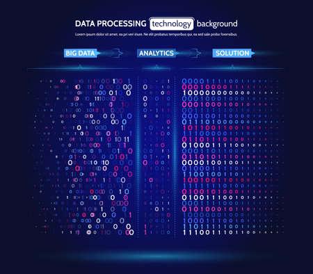 Visualisation de Big Data. Concept d'analyse de l'information. Résumé des informations de flux. Filtrage des algorithmes de la machine. Tri du code binaire. Fond de technologie de vecteur.