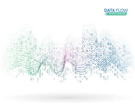 mathematics: Abstract data flow background with binary code. Dynamic waves technology concept.  Vector illustration information stream. Illustration