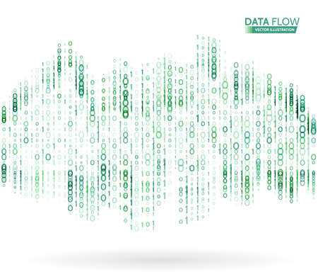 mathematics: Abstract data flow background with binary code. Dynamic waves technology concept Vector illustration Illustration