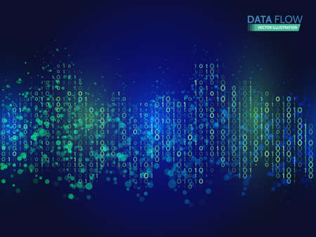 Abstract data flow background with binary code. Dynamic waves technology concept vector illustration information stream.