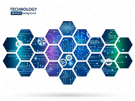 Abstract technology background with hexagons and gear wheels. Hi-tech circuit board vector illustration Çizim