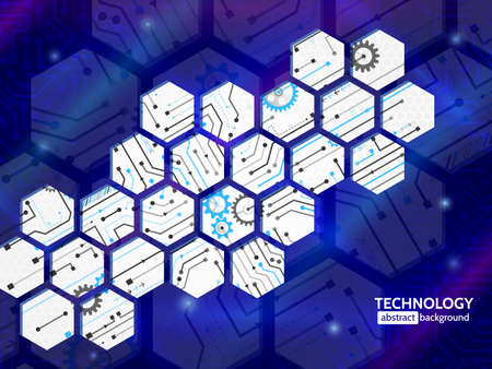 Abstract technology background with hexagons and gear wheels. Hi-tech circuit board vector illustration 向量圖像