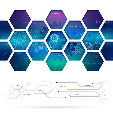 Abstract technology background with hexagons and gear wheels. Hi-tech circuit board vector illustration Illustration