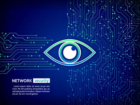 Abstract high tech circuit board. Eye cyber security concept. Network data protection background. Search and analysis of information.