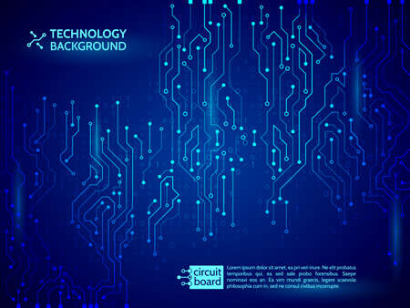 High-tech technology background texture. Blue circuit board vector illustration. 矢量图像