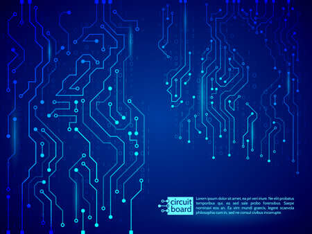 high tech technology background texture blue circuit board vector