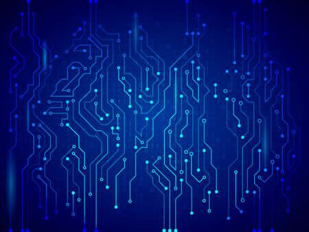 Tecnología de alta tecnología de textura de fondo. Ilustración de vector de placa de circuito azul.