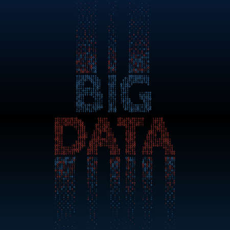 Abstract big data background with binary code. Machine learning algorithm visualization. Data sorting vector illustration. Ilustração