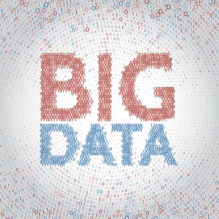Abstrait de données volumineuses avec code binaire. Visualisation d'algorithmes d'apprentissage automatique. Illustration vectorielle de tri des données.