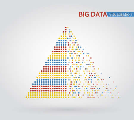 Abstract big data machine learning algorithms. Analysis of information minimalistic infographics design. Illustration