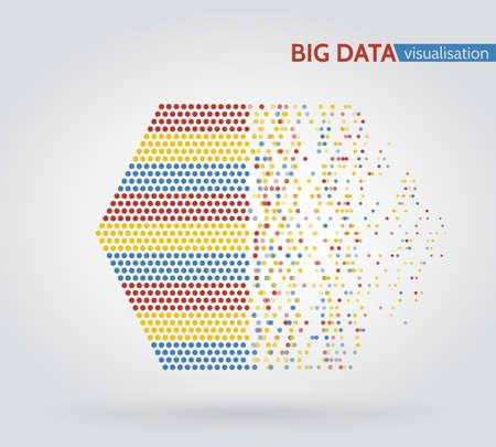 Abstract big data machine learning algorithms. Analysis of information minimalistic infographics design. 일러스트